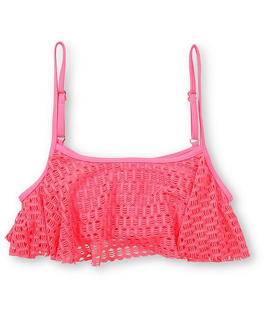 Roxy Sweet Terrain Pink Crochet Flounce Bikini Top