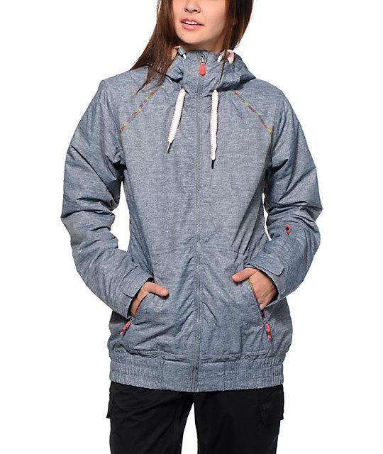 Roxy Valley Hoodie Grey 10K Snowboard Jacket at Zumiez : PDP
