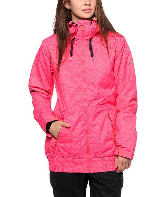 Roxy Valley Hoodie Pink 10K Snowboard Jacket