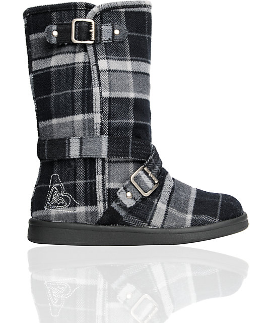 Roxy Vermont Black & Grey Plaid Boot