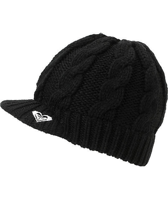 Roxy Wildlife Black Visor Beanie