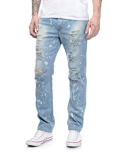 Rustic Dime Acid Drop Light Blue Destroyed Jeans
