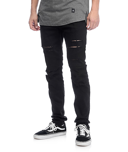 Mens Ripped Black Jeans