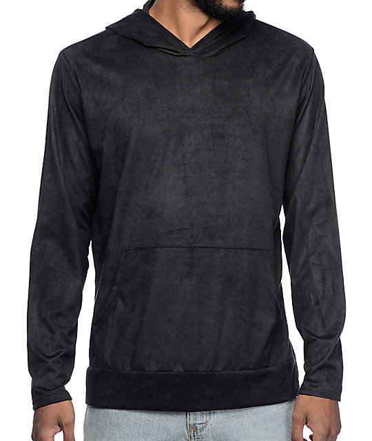 Dime Black Suede Hooded Long Sleeve T-Shirt