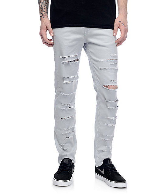 Rustic Dime Blue Haze Shredded Taper Fit Jeans
