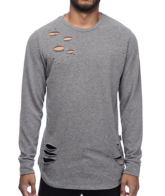 Rustic Dime Distressed Long Sleeve Knit Heathergrey Sweatshirt