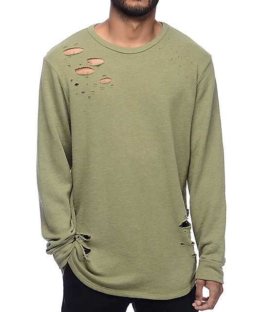 Rustic Dime Distressed Olive Long Sleeve Knit Sweatshirt