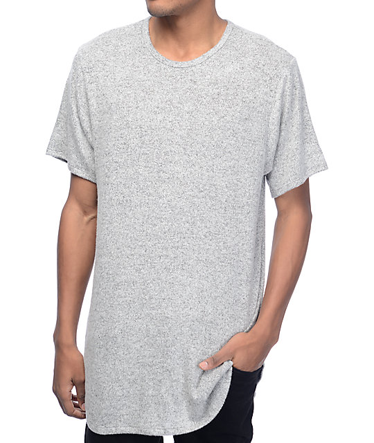 rustic dime heather white black elongated t shirt at