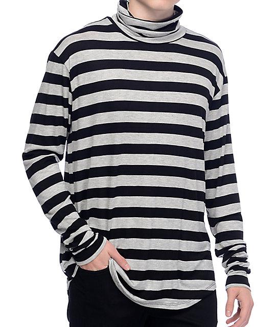Rustic dime rugby black grey long sleeve turtleneck for Long sleeve black turtleneck shirt