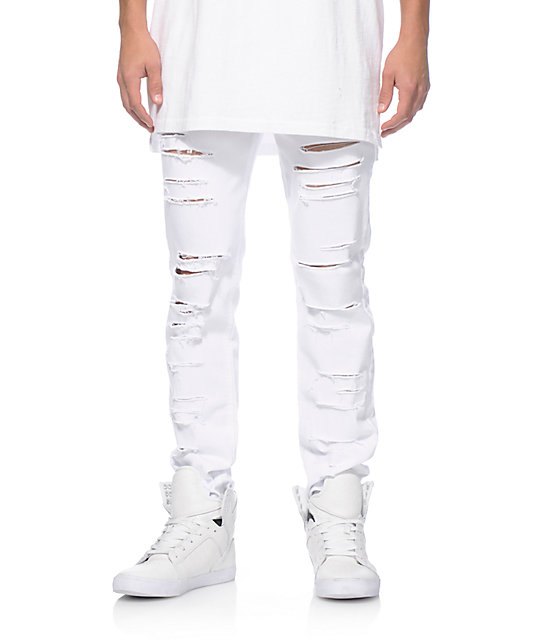 Dime Shredded Taper Fit Jeans