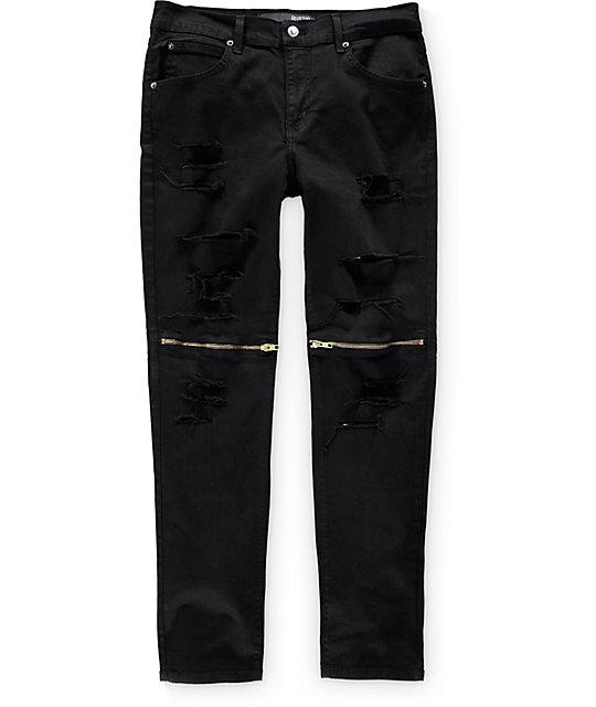Rustic Dime Slice Knee Zip Black Jeans