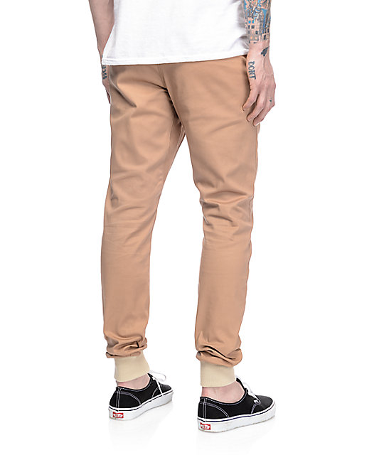 Rustic Dime Sunset Tan Twill Jogger Pants