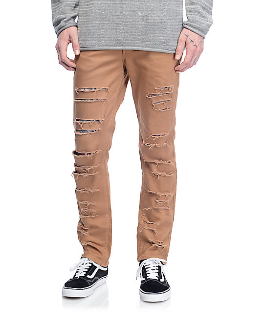 Rustic Dime Tobacco Shredded Taper Fit Jeans