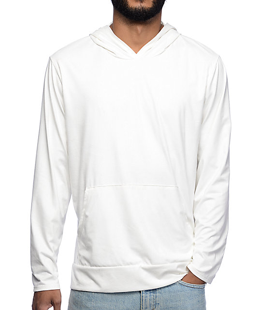 Dime White Suede Hooded Long Sleeve T-Shirt
