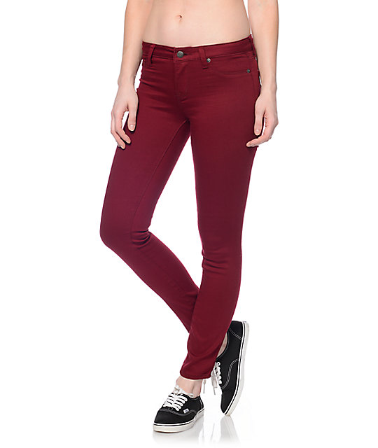 S.O.N.G. Oh So Skinny Burgundy Skinny Jeans at Zumiez : PDP