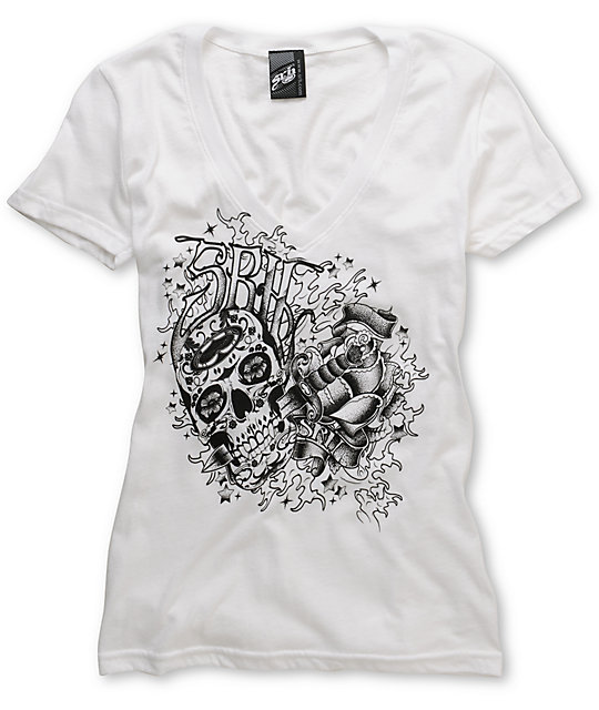 SRH Inked Up White V-Neck T-Shirt