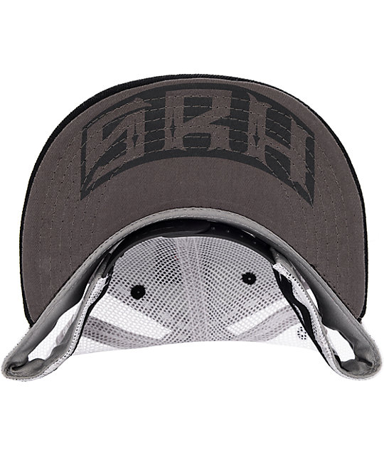 SRH Oil Can Black & White Snapback Trucker Hat