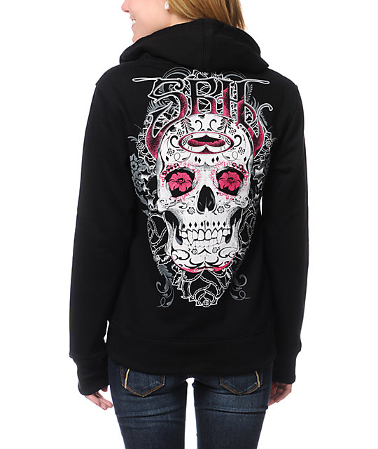 SRH Rosie Skull Black Zip Up Hoodie