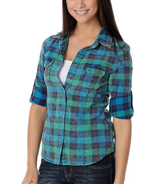 STS Blue Acid Wash Blue & Green Woven Shirt