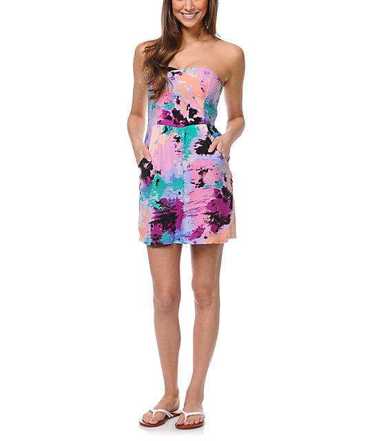 STS Blue Galapagos Island Print Strapless Dress