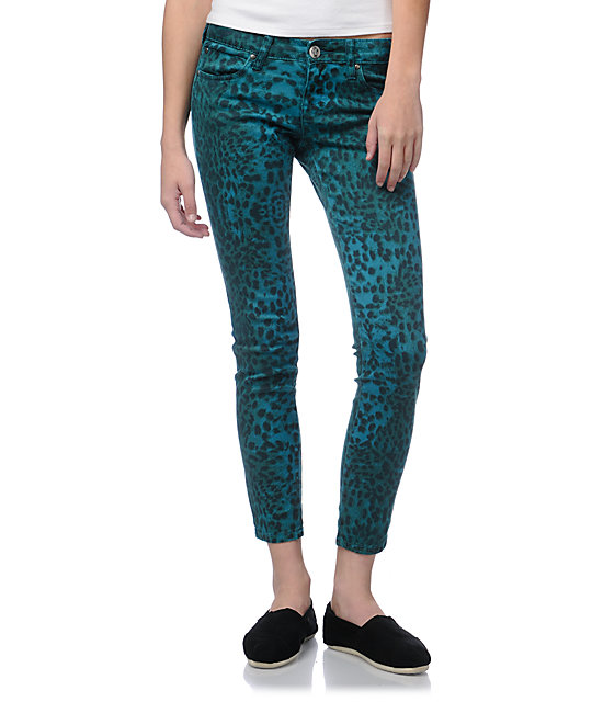 STS Blue Teal Leopard Print Skinny Jeans at Zumiez : PDP