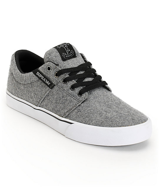 SUPRA Stacks Vulc Grey Wool Skate Shoes