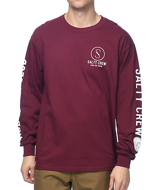 Crew Ballast Burgundy Long Sleeve T-Shirt