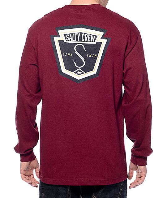 Crew Fly Bridge Burgundy Long Sleeve T-Shirt