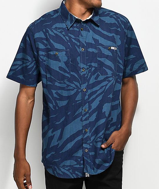 Salty Crew Kelped Out Navy Button Up Shirt
