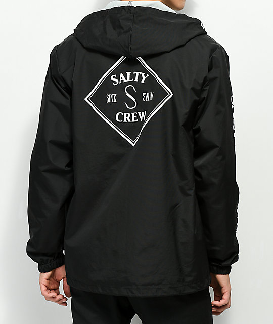 Salty Crew Tippet Black Hooded Coaches Jacket by Salty Crew
