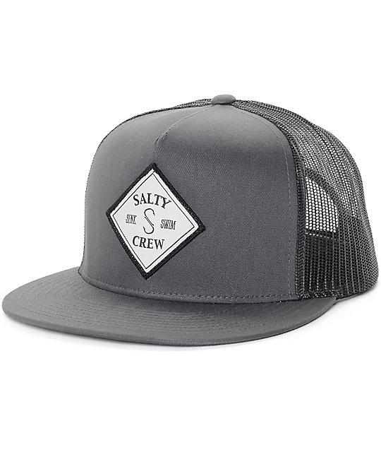 Salty Crew Tippet Grey & Black Trucker Hat