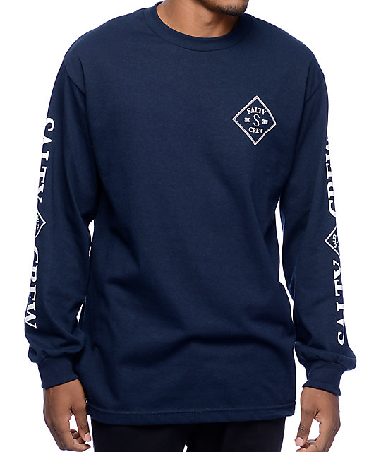 Crew Tippet Navy Long Sleeve T-Shirt