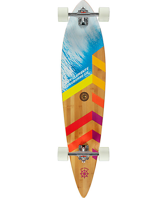 "San Clemente Sections Bamboo 42"" Pintail Longboard Complete"