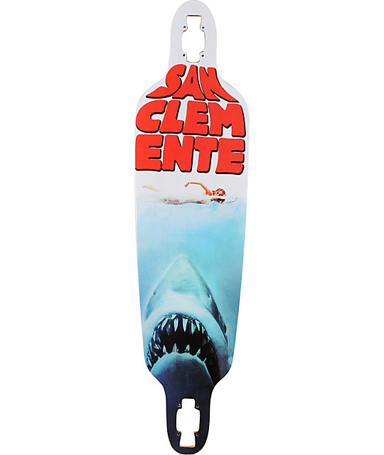 "San Clemente Shark Week 10""  Bamboo Longboard Deck"