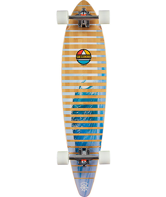 "San Clemente Slivers Bamboo 38""  Pintail Longboard Complete"