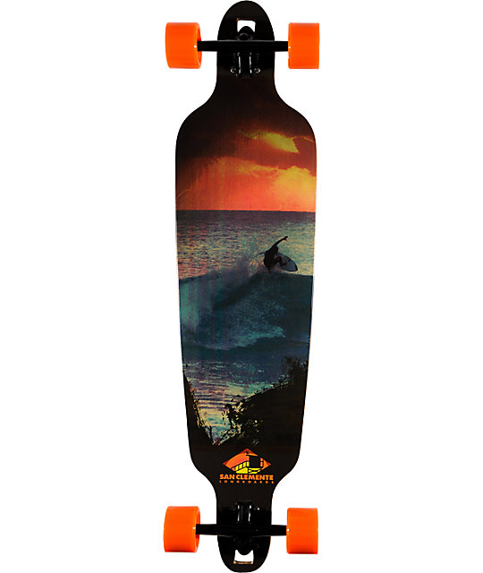 """San Clemente Surf At Sunset 39.75""""  Bamboo Longboard"""