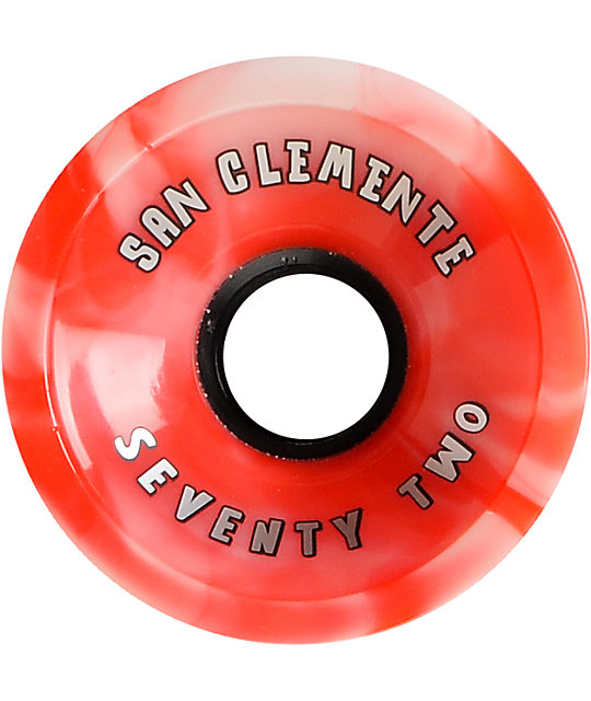 San Clemente White & Red Summer Swirl 72mm Skateboard Wheels