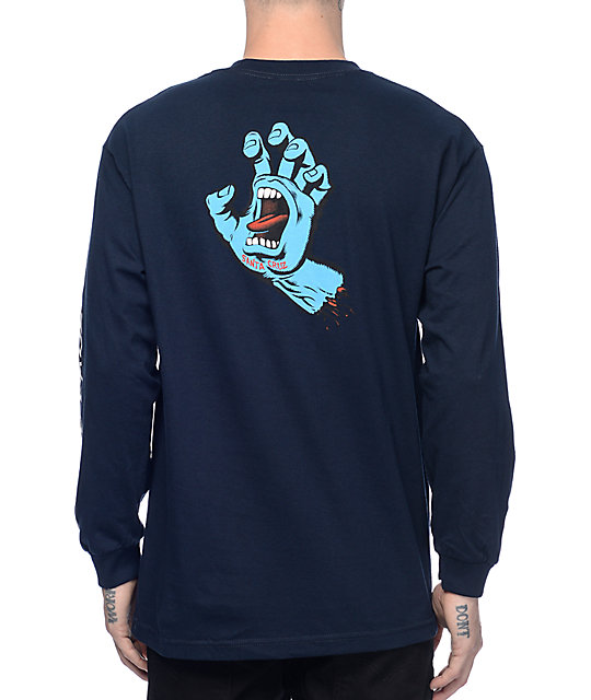 Santa Cruz Screaming Hand Navy Long Sleeve T-Shirt at Zumiez : PDP