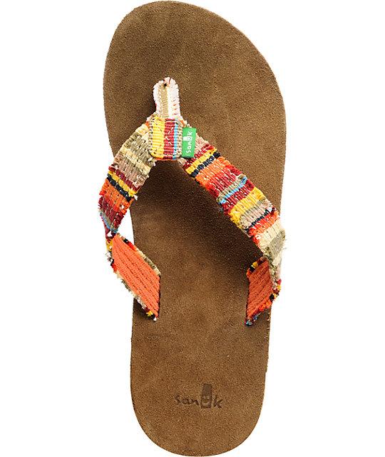 Sanuk Fraidy Cat Orange Flip Flop Sandals Zumiez