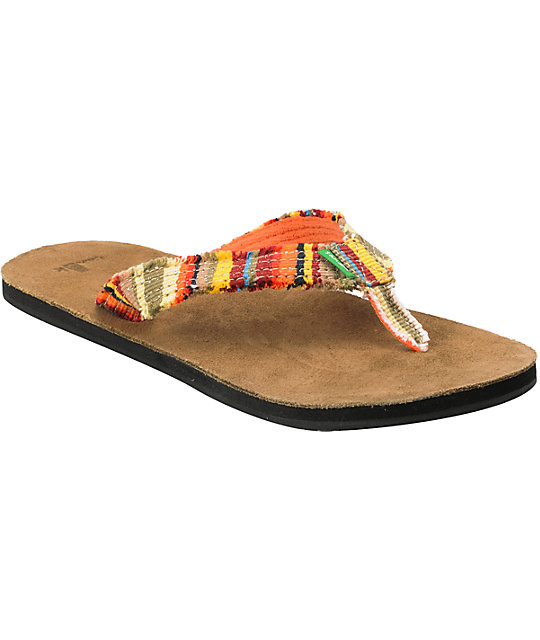 Sanuk Fraidy Cat Orange Flip-Flop Sandals