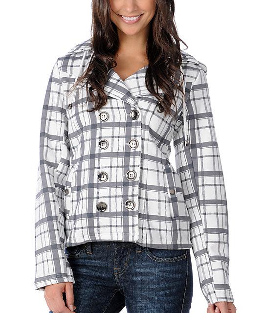 Sebby Bella Grey & White Plaid Hooded Pea Coat