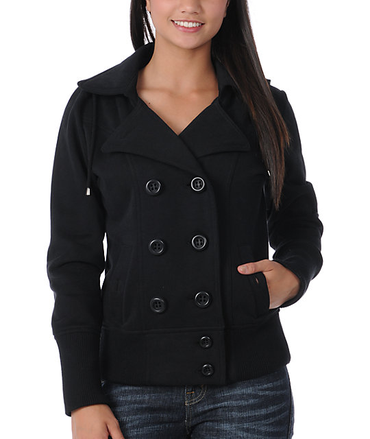 Sebby Emily Black Hooded Pea Coat