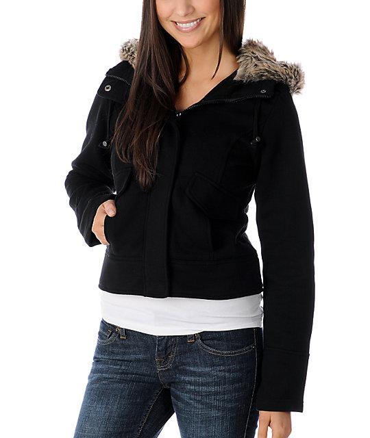 Sebby Faux Fur Hooded Black Sweatshirt