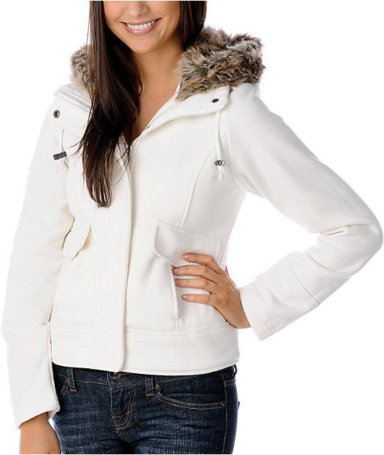 Sebby Faux Fur Hooded Cream Sweatshirt