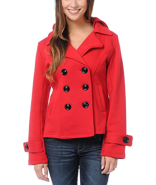 Sebby Red Fleece Hooded Pea Coat | Zumiez