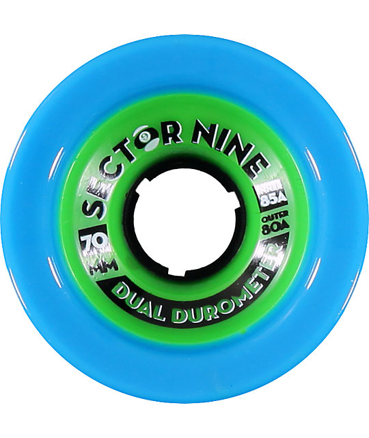 Sector 9 Dual Duro 70mm Blue & Green Skateboard Wheels
