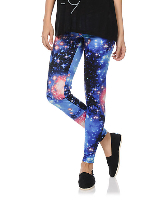 See You Monday Blue & Pink Celestial Leggings