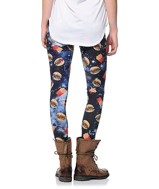 See You Monday Burger Fry Space Printed Leggings