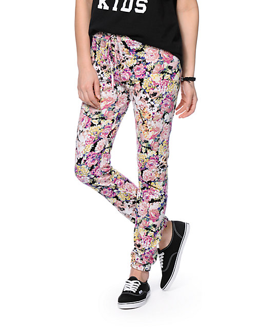See You Monday Floral Print Jogger Pants