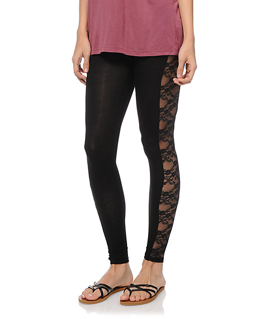 See You Monday Lace Inset Black Leggings